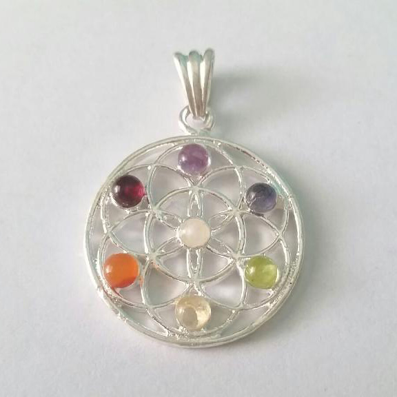 Flower of life chakra pendant angel crystal store flower of life pendant mozeypictures Gallery